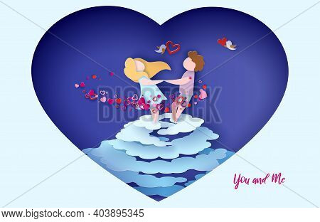 Valentines Day Card. Romantic Young Couple Holding Hands And Spinning