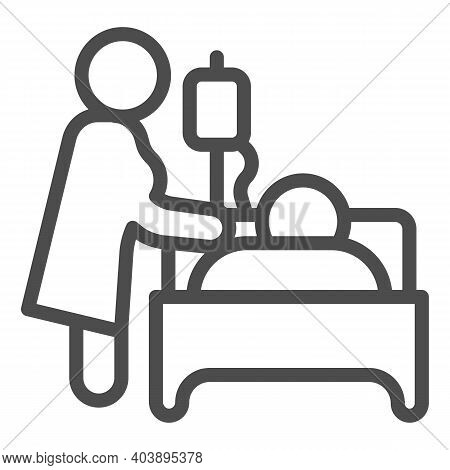 Nurse Visiting Patient Lying Bed With Dropper Line Icon, Disability Concept, Nurse With Dropper And