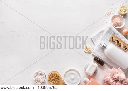 Bath And Skin Care Accessories On White Background, Top View, Copy Space. Daily Natural Organic Body