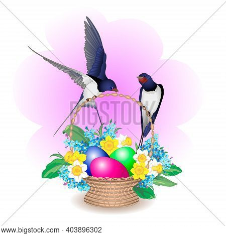 Swallows On An Easter Basket With Easter Eggs, Daffodils And Forget-me-nots