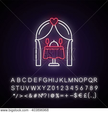 Wedding Reception Neon Light Icon. Romantic Dinner. Catering And Banquet For Special Event. Outer Gl