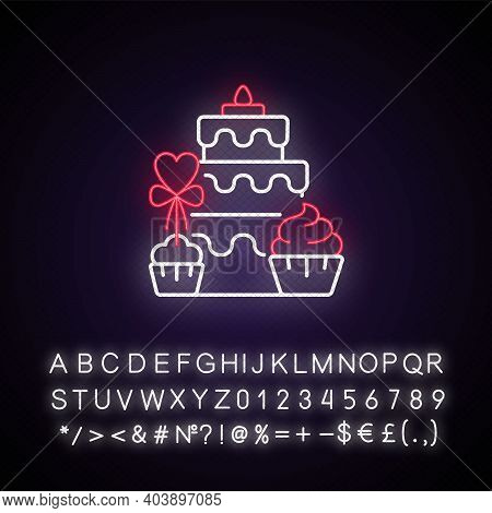 Candy Bars Neon Light Icon. Buffet With Cupcakes And Muffins. Cake For Wedding Celebration. Outer Gl