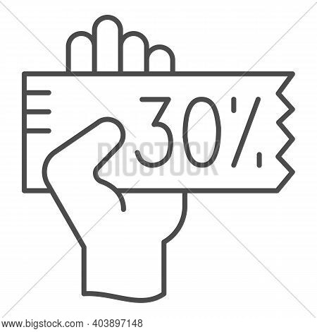 Hand With A Discount Coupon Thin Line Icon, Shopping Concept, Big Discounts Sign On White Background