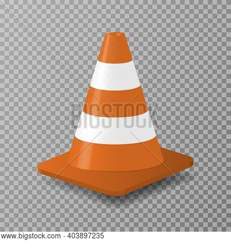 3d Traffic Cone With White And Orange Stripes. Vector Illustration Isolated On Transparent Backgroun