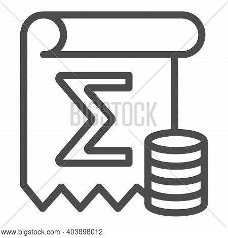 Coin Summary Line Icon, Black Bookkeeping Concept, Finance Calculation Sign On White Background, Boo