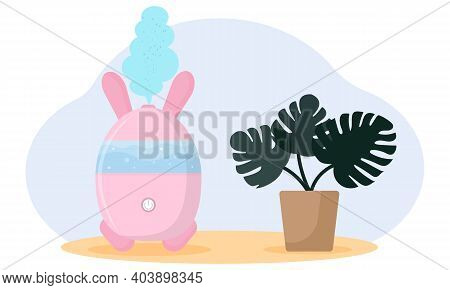 Trendy Composition Humidifier With House Monstera Plant. Humidifier In The Shape Of A Rabbit And Ste