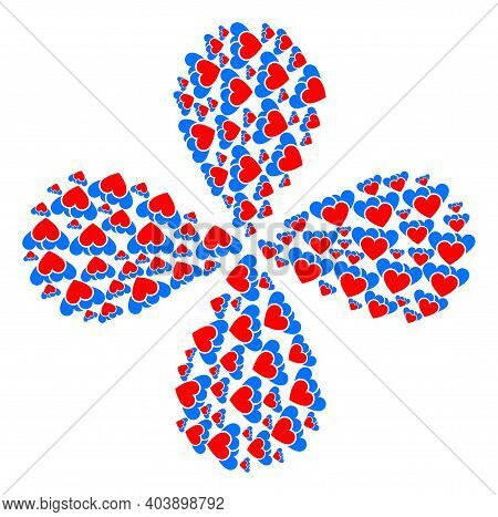 Love Hearts Centrifugal Flower Cluster. Element Cluster Organized From Oriented Love Hearts Items. V