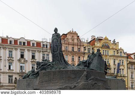 The Jan Hus Mmemorial In Old Town Square In Prague, Sculptor Ladislav Saloun In 1915.