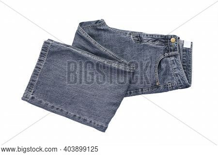 Jeans On The Background. Jeans On A White Isolated Background, Top View.