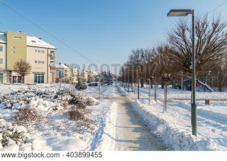 Pruszcz Gdanski, Poland - January 17, 2021: City Center Of Pruszcz Gdanski At Winter Time.