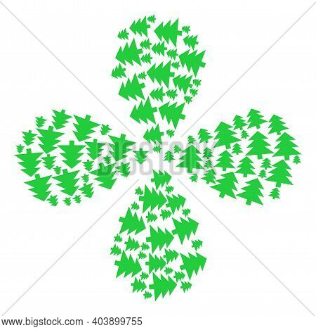 Fir Tree Explosion Flower With Four Petals. Object Flower With 4 Petals Composed From Oriented Fir T