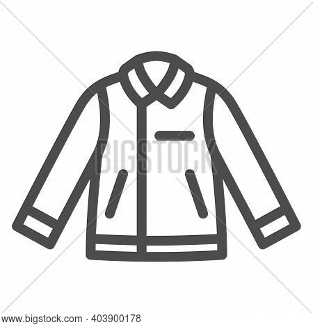 Men Leather Jacket Line Icon, Winter Clothes Concept, Leather Coat Sign On White Background, Biker J