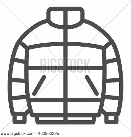 Warm Men Jacket Line Icon, Winter Clothes Concept, Puffer Jacket Sign On White Background, Male Wint