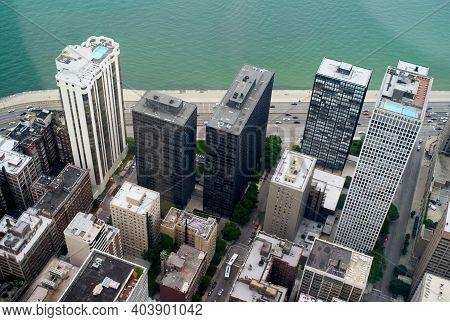 Chicago, Illinois, United States - July 25 2009: 900-910 North Lake Shore Drive High Rise Skyscraper