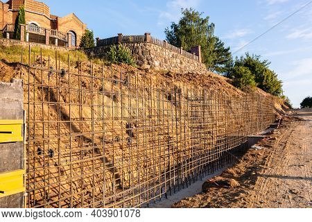The Construction Of A Retaining Wall Or Counterfort, Formwork, Reinforced, Preparation To Pour Concr