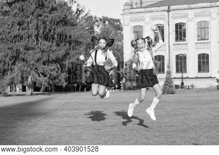 Active Every Moment. Active Children Jump Outdoors. Happy Girl Back To School. Active Childhood. Sch