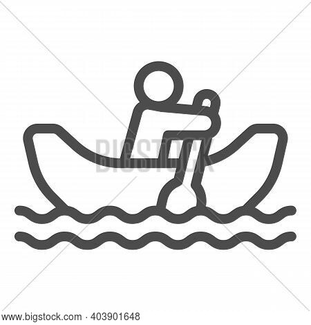 Man With Oar In Boat On Water Line Icon, Waterpark Concept, Rowing Boat Sign On White Background, Ma
