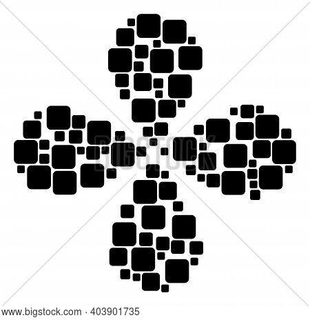 Rounded Square Exploding Flower Shape. Object Cyclone Organized From Oriented Rounded Square Items.