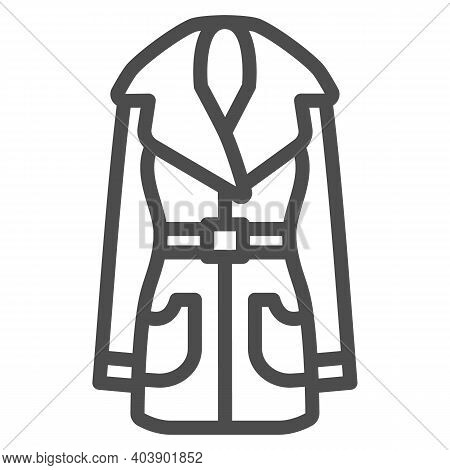 Women Leather Coat Line Icon, Winter Clothes Concept, Jacket Sign On White Background, Leather Coat