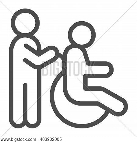Care For A Person In A Wheelchair Line Icon, Disability Concept, Disable Person Wheelchair Sign On W