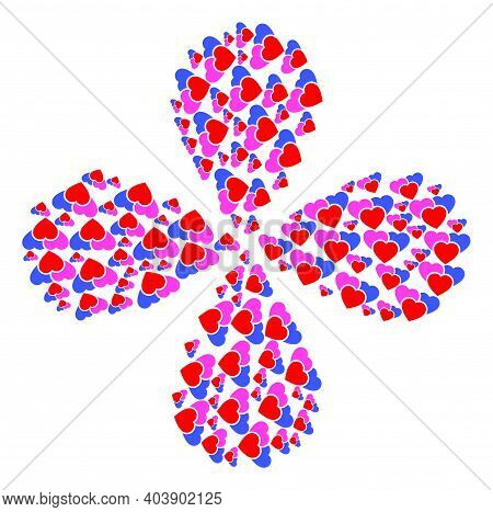Love Hearts Explosion Flower Shape. Element Centrifugal Explosion Combined From Oriented Love Hearts