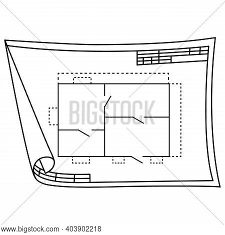 Technical Drawing Line. Nice New Drawing Of Blue Drawing Paper With House Drawing. For Builders And