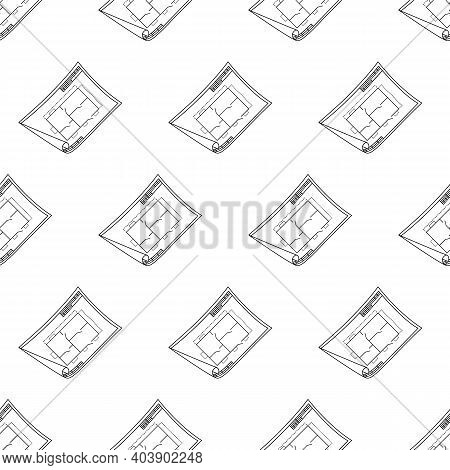 Technical Drawing Pattern Line. Nice New Drawing Of Blue Drawing Paper With House Drawing. For Build