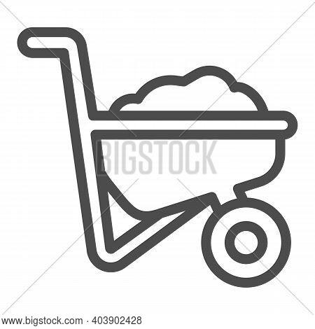 Wheelbarrow With Ground Line Icon, Farm Garden Concept, Wheelbarrow Cart Sign On White Background, T