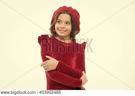 Exquisite Manners. Happy Girl. French Style Child. Parisian Girl In Beret. Fashion Portrait Cute Gir