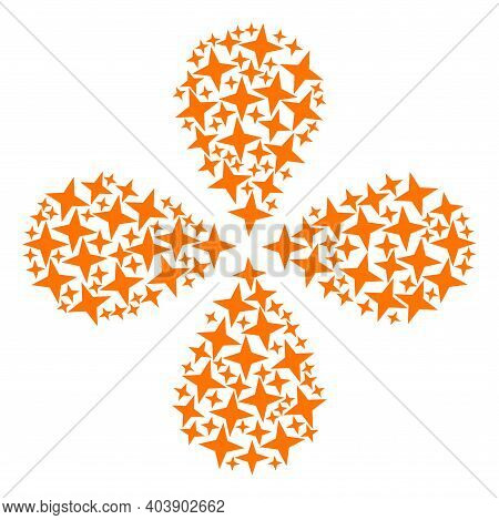 Space Star Explosion Flower Shape. Object Centrifugal Explosion Designed From Oriented Space Star Sy