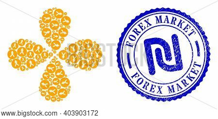 Yen Coin Curl Motion, And Blue Round Forex Market Scratched Badge With Icon Inside. Element Flower W