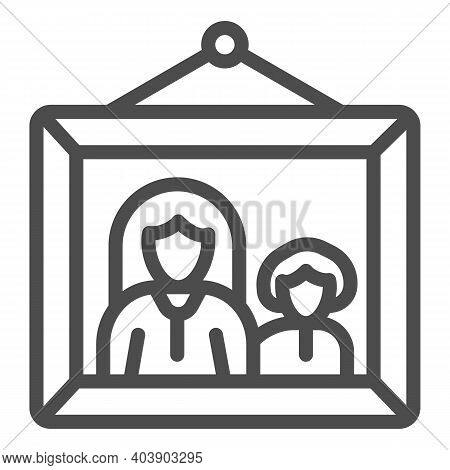 Picture With Mom And Child Line Icon, Mother Day Concept, Framed Photo With Mother And Son Sign On W