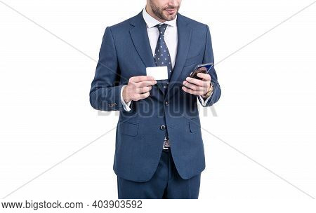 Making A Call. Businessman Half Face With Card Dial Phone Number. Business Information. Professional