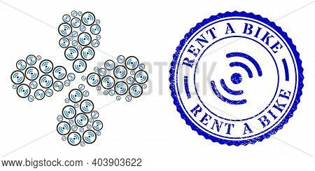 Rotor Rotation Explosion Fireworks, And Blue Round Rent A Bike Corroded Badge With Icon Inside. Obje