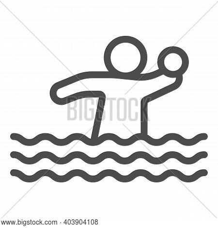 Volleyball Player With Ball In Water Line Icon, Waterpark Concept, Water Volleyball Sign On White Ba