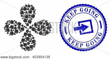 Right Index Finger Rotation Flower With Four Petals, And Blue Round Keep Going Textured Stamp Print
