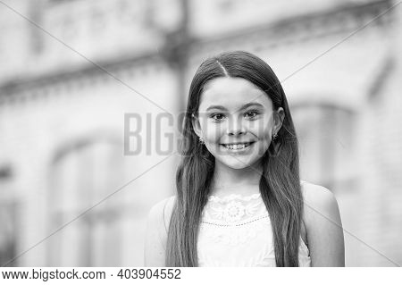 Every Day Is Beauty Contest. Happy Girl Smile Outdoors. Beauty Look Of Small Child. Beauty Salon. Su