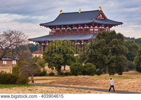 Nara, Japan - December 10, 2017: Heijo Palace, Old Imperial Residence And The Administrative Centre