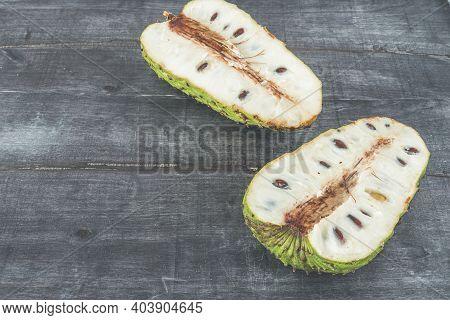 Delicious Tropical Fruit Soursop Cut In Half