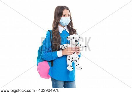 Infection Control In School And Childcare. Kid Hold Toy Wearing Protective Mask. Novel Coronavirus I