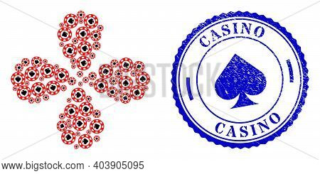 Spades Casino Chip Swirl Flower With Four Petals, And Blue Round Casino Unclean Rubber Print With Ic