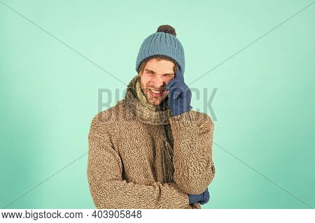 Stay Warm. Frown Man In Casual Fashion Wear. Handsome Guy With Winter Look. Young Male Style And Fas
