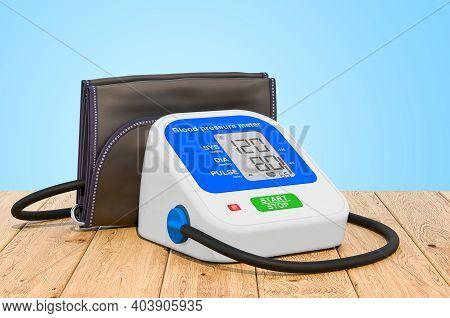 Electronic Sphygmomanometer On The Wooden Planks, 3d Rendering