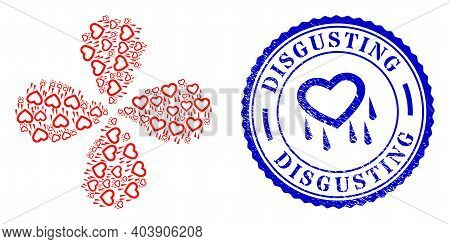 Crying Heart Explosion Abstract Flower, And Blue Round Disgusting Scratched Watermark With Icon Insi