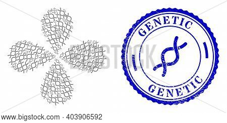 Genetic Spiral Curl Flower With Four Petals, And Blue Round Genetic Grunge Stamp Imitation With Icon