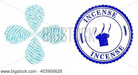 Vapour Smell Twirl Burst, And Blue Round Incense Textured Seal With Icon Inside. Object Flower With