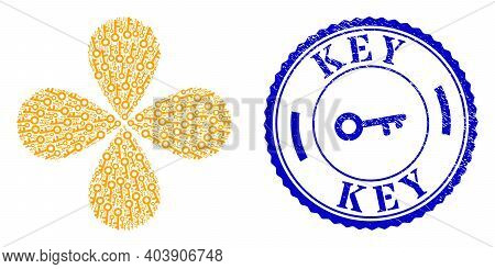 Key Exploding Composition, And Blue Round Key Grunge Stamp Imitation With Icon Inside. Element Flowe