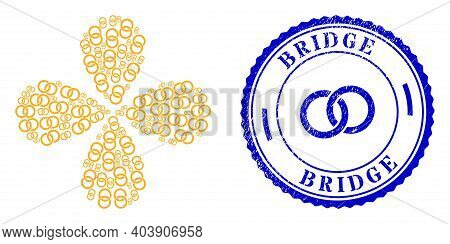Marriage Rings Twirl Abstract Flower, And Blue Round Bridge Rough Stamp Print With Icon Inside. Obje