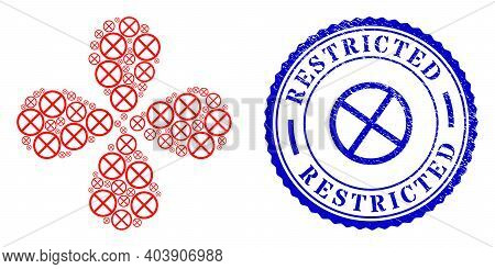 Restricted Twirl Flower With Four Petals, And Blue Round Restricted Corroded Watermark With Icon Ins