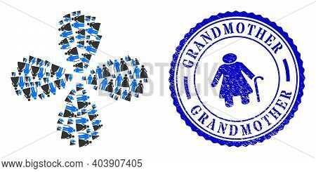 Grandparents Couple Explosion Flower Cluster, And Blue Round Grandmother Dirty Stamp Imitation With